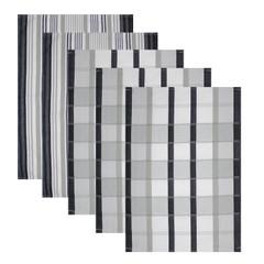 5er Set Baumwoll Geschirrtücher 50x70 cm Schwarz Kariert – Bild 1