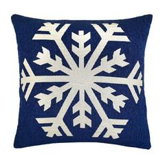 Kissenhüllen mit Schneeflocke 50x50 cm blau – Bild 1