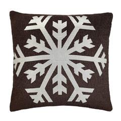 Kissenhüllen mit Schneeflocke 50x50 cm braun – Bild 1