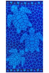 XXL Strandtuch 90x180 cm Blau Türkis mit Schildkröten