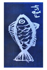 Strandlaken Saunalaken 86x160 cm in Blau mit Fisch Motiv