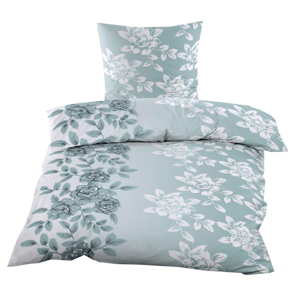 2 Tlg Biber Bettwäsche 135x200 Cm Blau Weiß Blumenmuster Dein Bettwäsche Profi