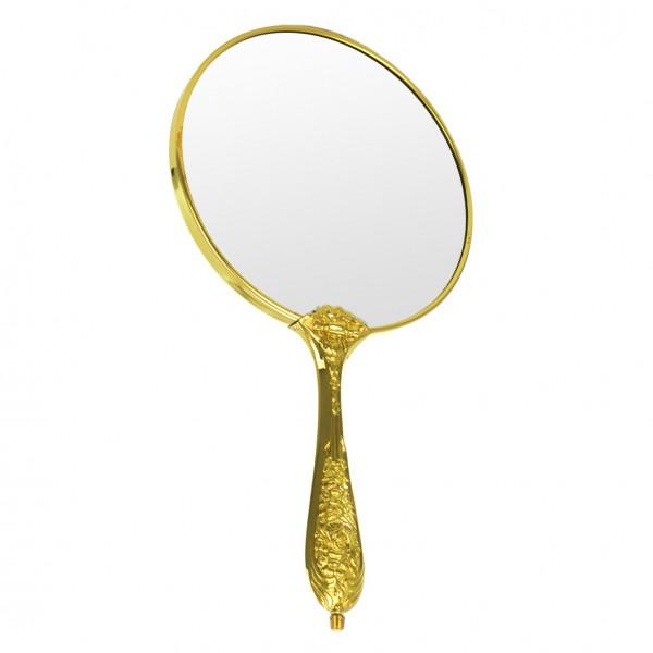Handspiegel antik, Ø 14,5cm, Planglas (keine Vergrößerung) – Bild 1