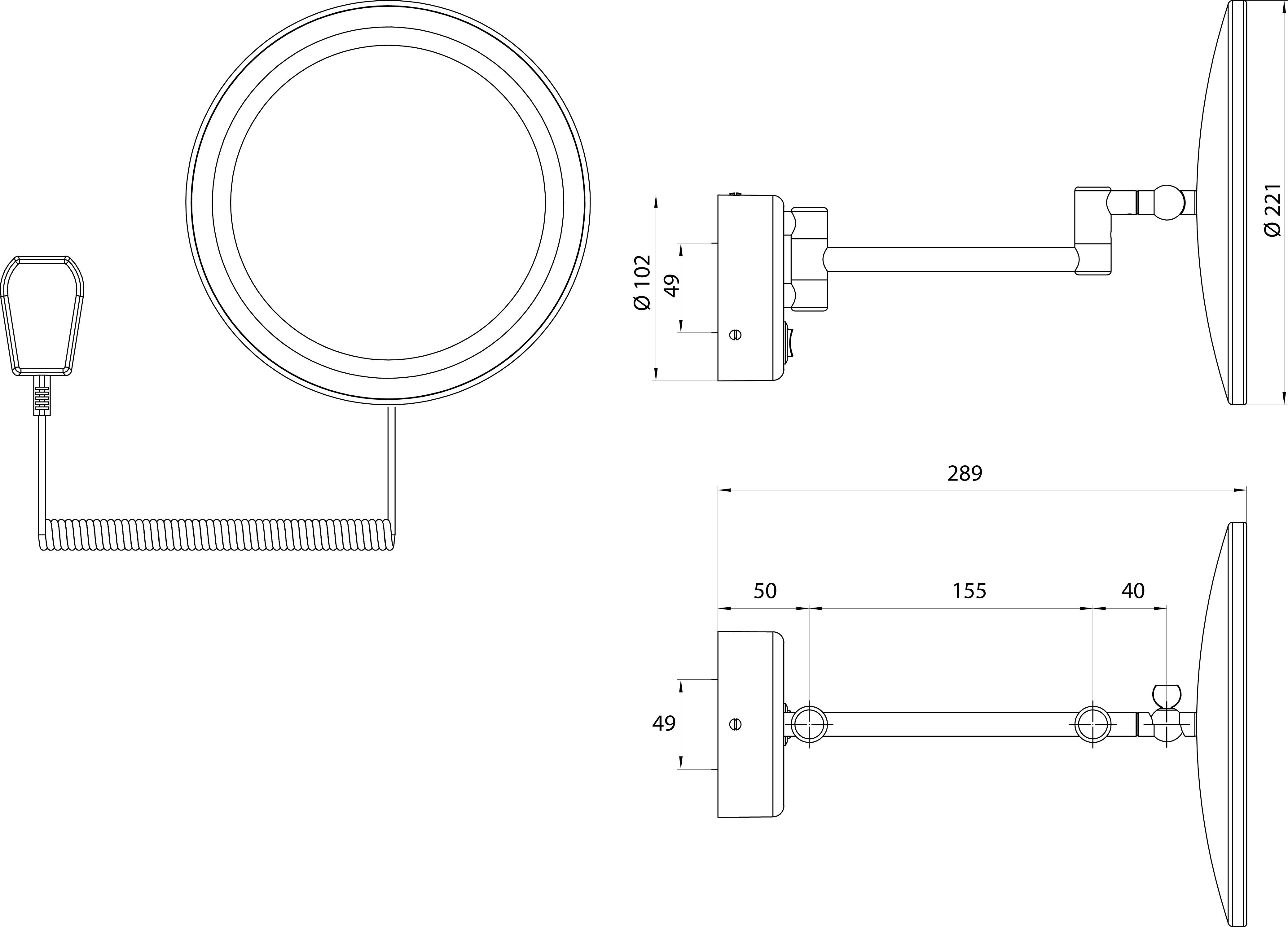 Beleuchteter Wand-Kosmetikspiegel, Ø 22cm, 3/5fach – Bild 5