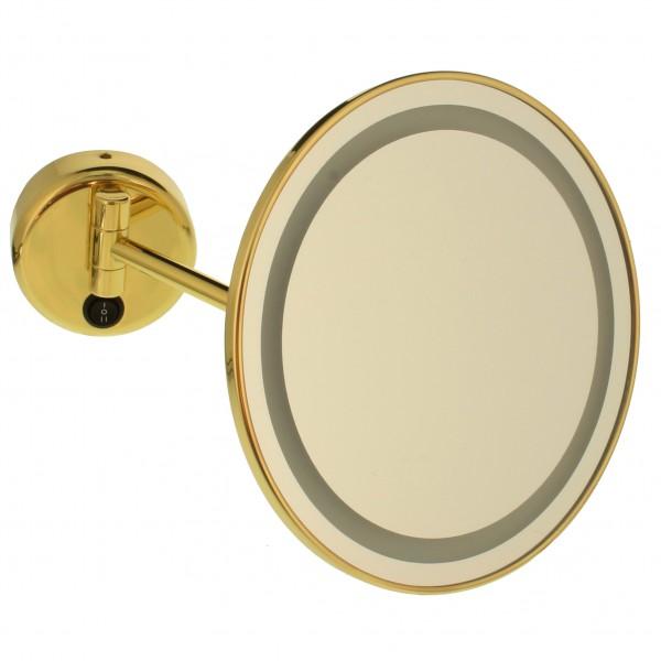 Beleuchteter Wand-Kosmetikspiegel, Ø 22cm, 3/5fach – Bild 1