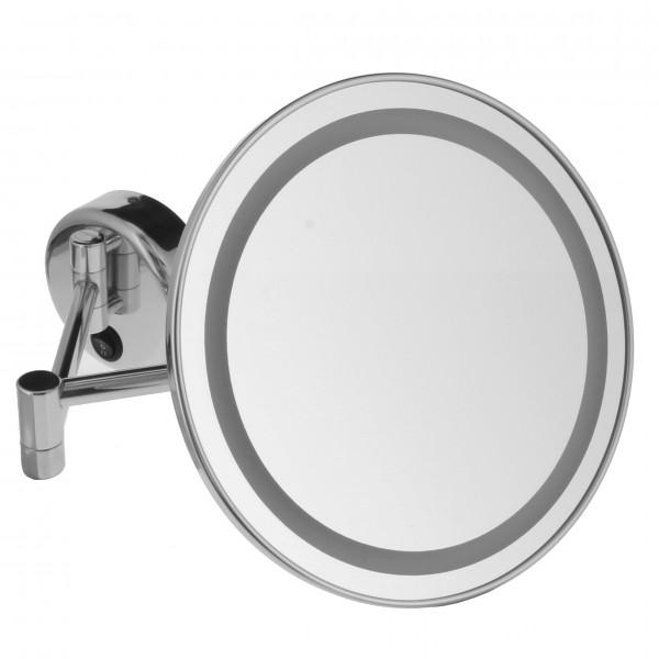 Beleuchteter Wand-Kosmetikspiegel, Ø 22cm, 3/5fach