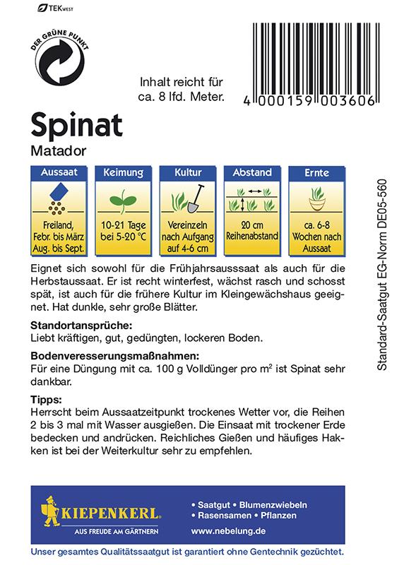 Spinat Matador von Kiepenkerl Spinatsamen