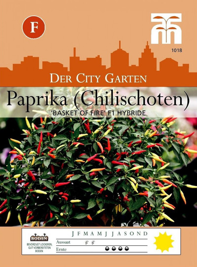 Paprikasamen - Paprika (Chilischoten) Basket of Fire F1 Hybride von Thompson & Morgan