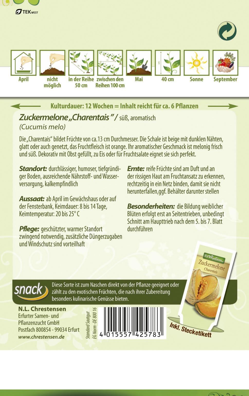 """aromatisch Samen   4291 N.L.Chrestensen Zuckermelone /"""" Charentais  Melonen süß"""