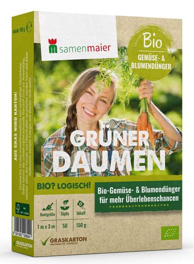 Gemüse- und Blumendünger Grüner Daumen 150 g | Bio-Gründünger von Samen Maier