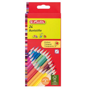 Dreikantbuntstifte 24er lackiert aus FSC Holz