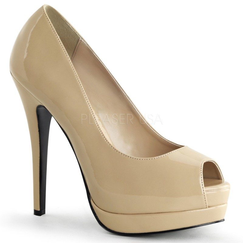 Bordello Bella-12 Sexy Burlesque High Heels Plateau Peeptoe Pumps Lack Creme 35-43