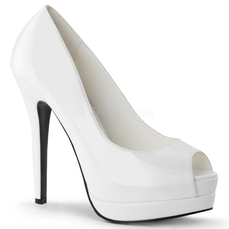 Bordello Bella-12 Sexy Burlesque High Heels Plateau Peeptoe Pumps Lack Weiss 35-43