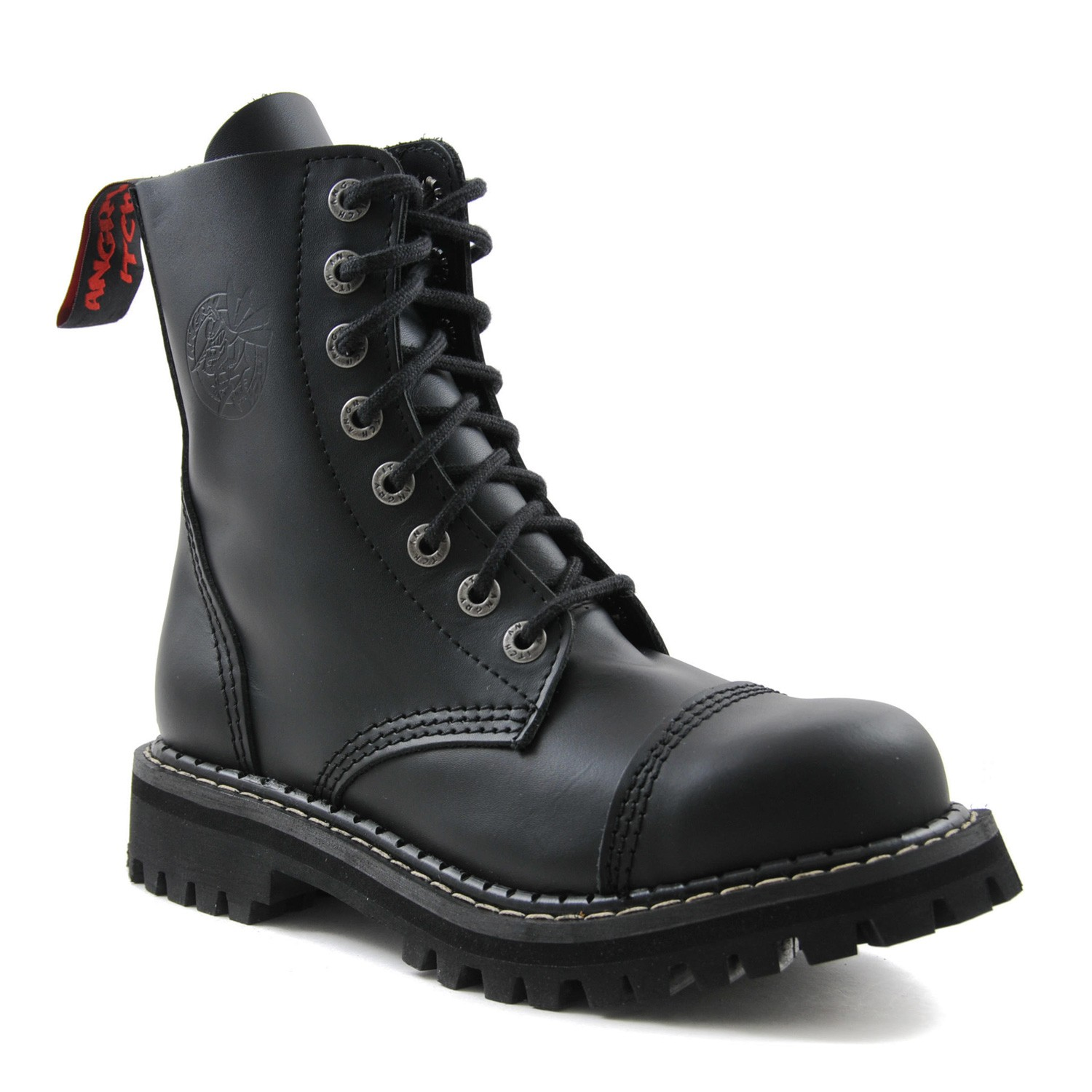 Angry Itch - 8-Loch Gothic Punk Army Ranger Armee schwarze Leder Stiefel mit Stahlkappe 36-48 - Made in EU!
