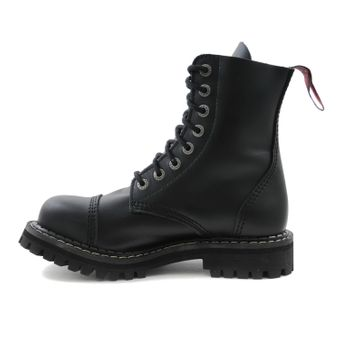 Angry Itch - 8-Loch Gothic Punk Army Ranger Armee schwarze Leder Stiefel mit Stahlkappe 36-48 - Made in EU! - Thumb 4