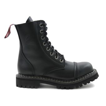 Angry Itch - 8-Loch Gothic Punk Army Ranger Armee schwarze Leder Stiefel mit Stahlkappe 36-48 - Made in EU! - Thumb 2