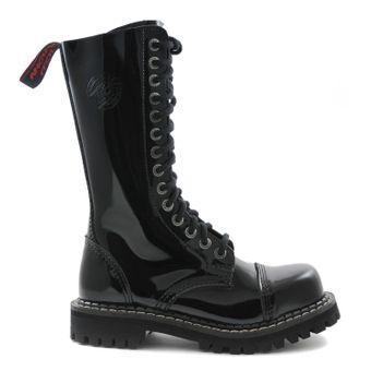 Angry Itch - 14-Loch Gothic Punk Army Ranger Lackleder Schwarz Armee Stiefel mit RV & Stahlkappe - Größen 36-48 - Made in EU! - Thumb 2