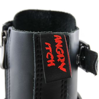 Angry Itch - 14-Loch 5-Buckle Boots Leder Schwarz - Thumb 6