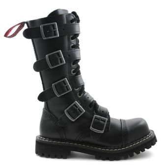 Angry Itch - 14-Loch 5-Buckle Boots Leder Schwarz - Thumb 2