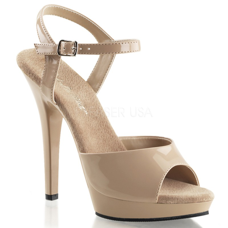 Fabulicious Lip-109 sexy High Heels Sandaletten Lack Beige Creme 35-43