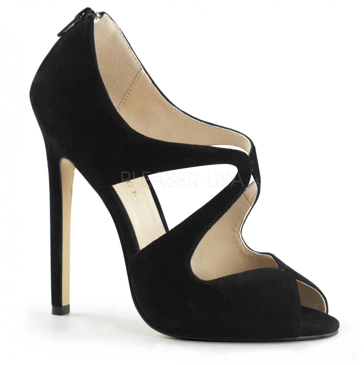 sports shoes 82147 12abe Pleaser Sexy-12 High Heels Fetisch Peeptoe Pumps Wildleder Schwarz 35-45  Übergrösse