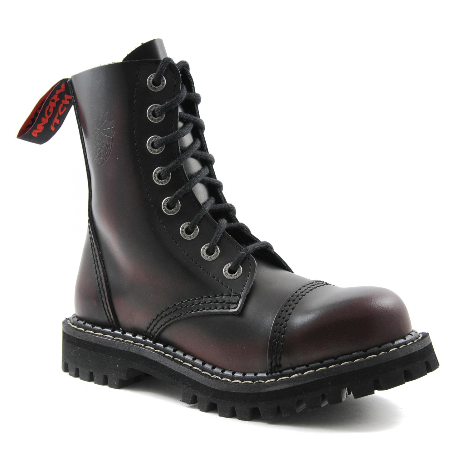 Angry Itch - 8-Loch Gothic Punk Army Ranger Armee Burgundy Rot Rub-Off Leder Stiefel mit Stahlkappe 36-48 - Made in EU!
