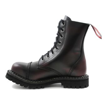Angry Itch - 8-Loch Gothic Punk Army Ranger Armee Burgundy Rot Rub-Off Leder Stiefel mit Stahlkappe 36-48 - Made in EU! - Thumb 4