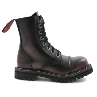 Angry Itch - 8-Loch Gothic Punk Army Ranger Armee Burgundy Rot Rub-Off Leder Stiefel mit Stahlkappe 36-48 - Made in EU! - Thumb 2