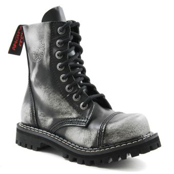Angry Itch - 8-Loch Gothic Punk Army Ranger Armee Weiss Rub-Off Leder Stiefel mit Stahlkappe 36-48 - Made in EU! - Thumb 1