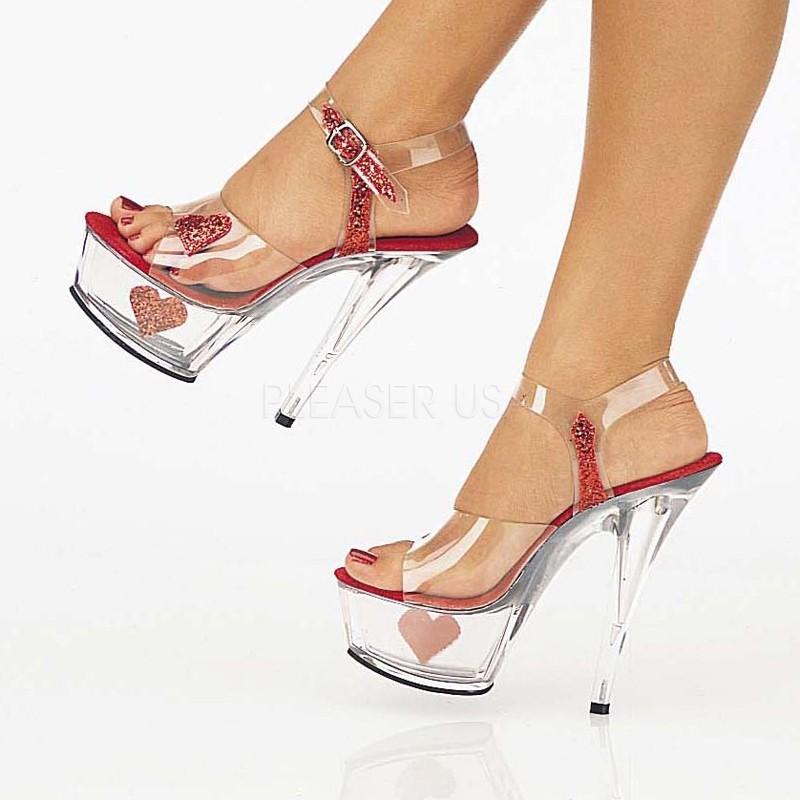 Lucious Showgirl-608H - sexy High Heels Plateau Sandaletten Transparent - Gr. 43