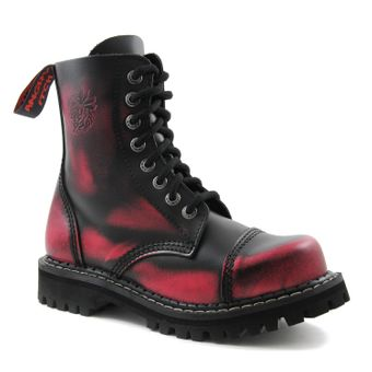 Angry Itch - 8-Loch Gothic Punk Army Ranger Armee Pink Rub-Off Leder Stiefel mit Stahlkappe 36-48 - Made in EU! - Thumb 1