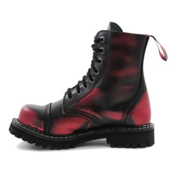 Angry Itch - 8-Loch Gothic Punk Army Ranger Armee Pink Rub-Off Leder Stiefel mit Stahlkappe 36-48 - Made in EU! - Thumb 4