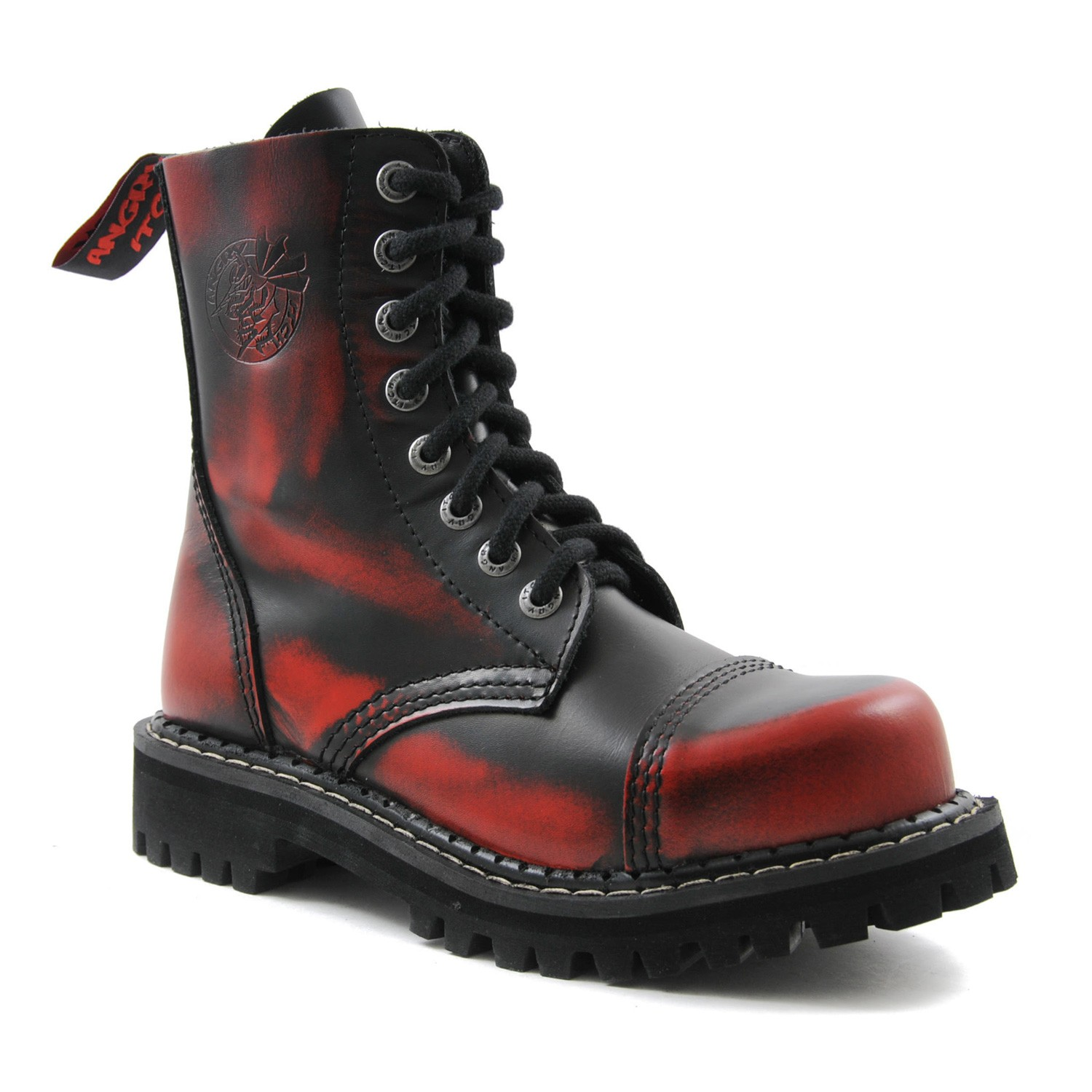 Angry Itch - 8-Loch Gothic Punk Army Ranger Armee Rot Rub-Off Leder Stiefel mit Stahlkappe 36-48 - Made in EU!