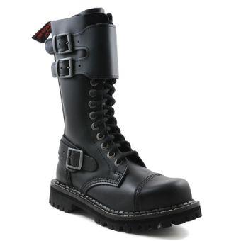 Angry Itch - 14-Loch mit Frontplatte Gothic Punk Army Ranger Armee Leder Schwarz Stiefel mit RV & Stahlkappe - Größen 36-48 - Made in EU! - Thumb 1