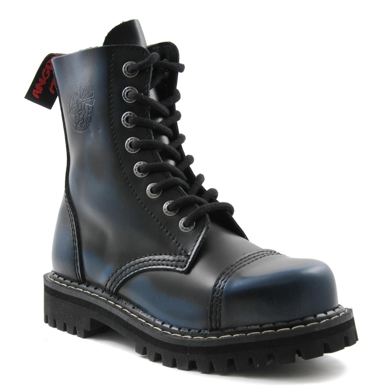 Angry Itch - 8-Loch Gothic Punk Army Ranger Armee Blau Rub-Off Leder Stiefel mit Stahlkappe 36-48 - Made in EU!