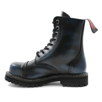 Angry Itch - 8-Loch Gothic Punk Army Ranger Armee Blau Rub-Off Leder Stiefel mit Stahlkappe 36-48 - Made in EU! - Thumb 4