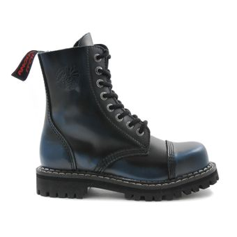 Angry Itch - 8-Loch Gothic Punk Army Ranger Armee Blau Rub-Off Leder Stiefel mit Stahlkappe 36-48 - Made in EU! - Thumb 2