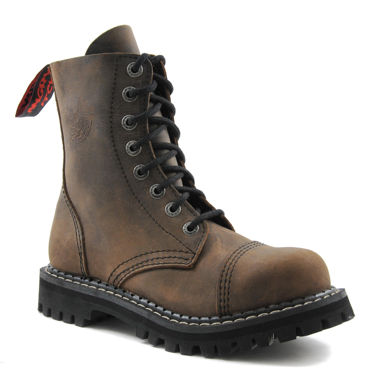 Angry Itch - 8-Loch Gothic Punk Army Ranger Armee Vintage Braun Leder Stiefel mit Stahlkappe 36-48 - Made in EU!