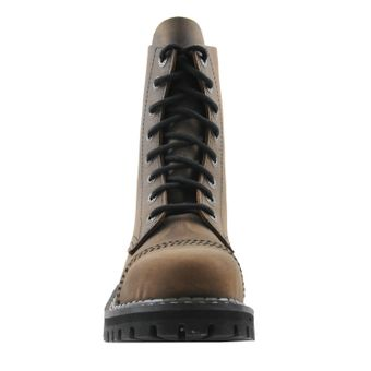 Angry Itch - 8-Loch Gothic Punk Army Ranger Armee Vintage Braun Leder Stiefel mit Stahlkappe 36-48 - Made in EU! - Thumb 3