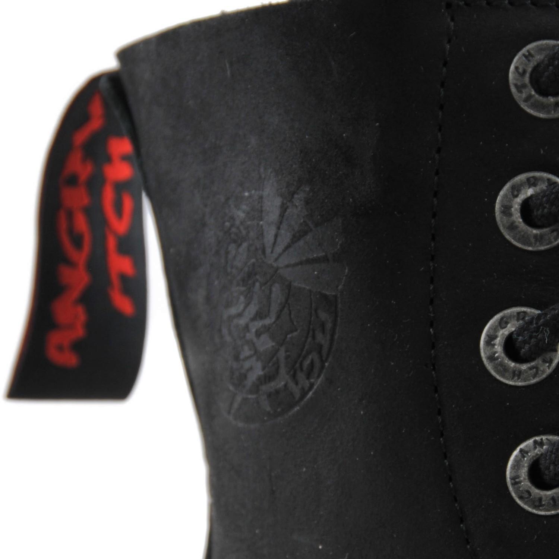 8-Loch Vintage Schwarz Gothic Punk Army Ranger Armee Leder Stiefel ANGRY ITCH