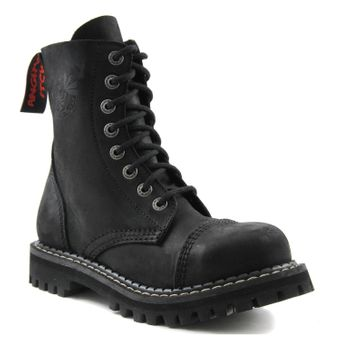 Angry Itch - 8-Loch Gothic Punk Army Ranger Armee Vintage Leder Schwarz Stiefel mit Stahlkappe 36-48 - Made in EU! - Thumb 1