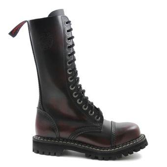 Angry Itch - 14-Loch Gothic Punk Army Ranger Armee Burgundy Rub-Off Leder Stiefel mit RV & Stahlkappe - Größen 36-48 - Made in EU! - Thumb 2