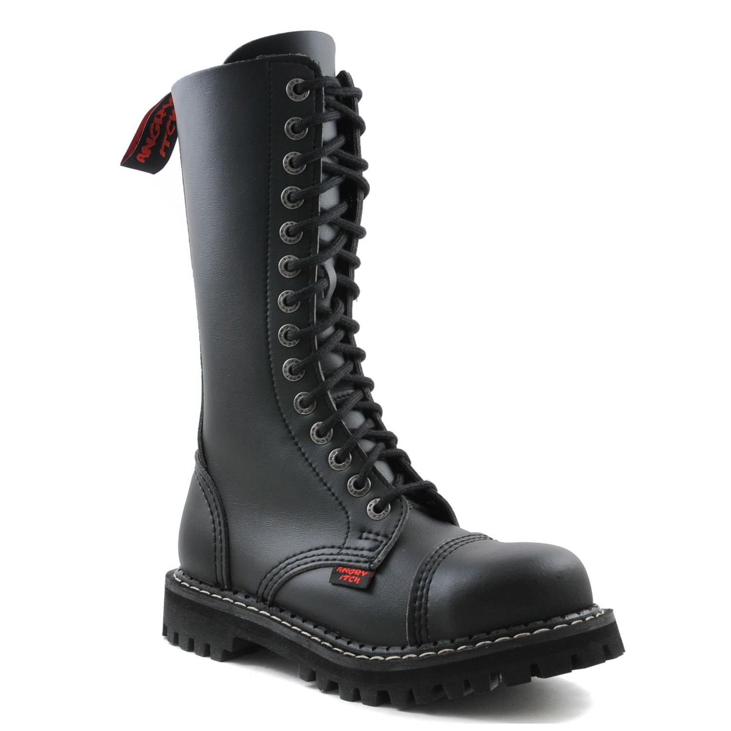 Angry Itch - 14-Loch Gothic Punk Army Ranger Armee schwarze vegane Stiefel mit RV & Stahlkappe 36-48 - Made in EU!