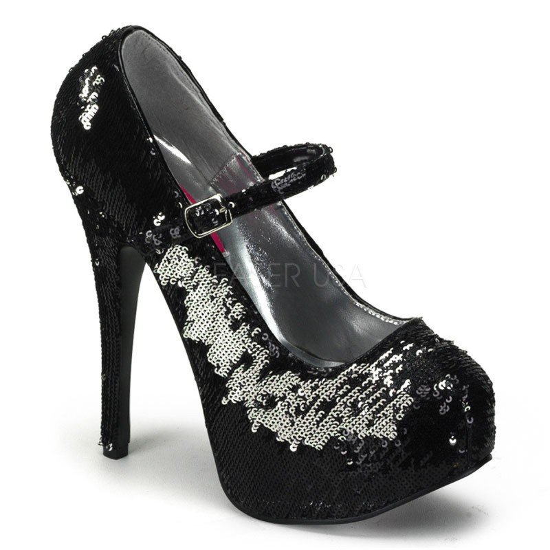 Teeze-07SQ - Original Bordello Burlesque Plateau Riemchen Pumps mit Pailletten in Schwarz Silber
