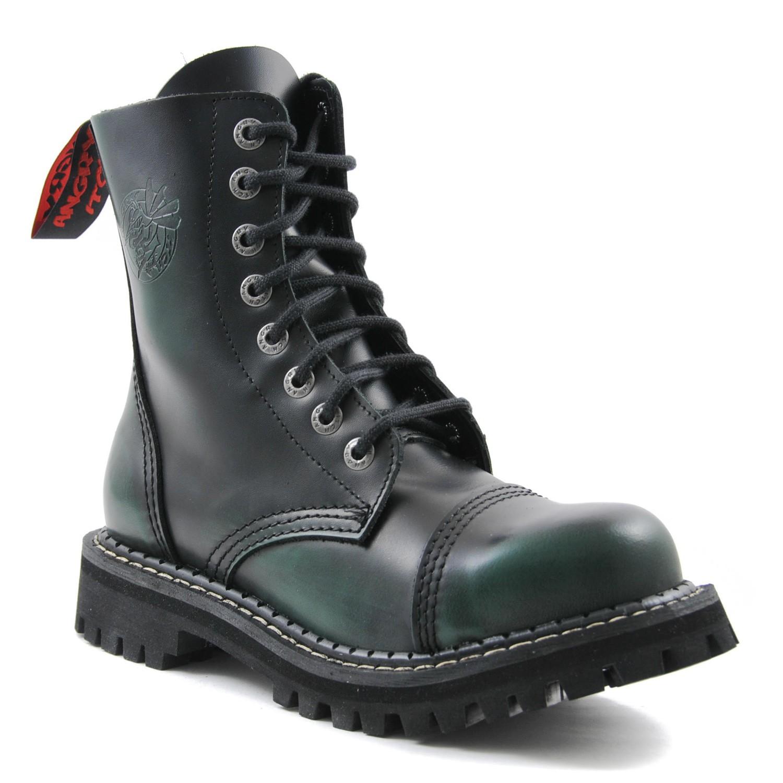 Angry Itch - 8-Loch Boots Dark Green Rub-Off Leder