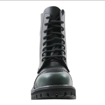 Angry Itch - 8-Loch Gothic Punk Army Ranger Armee Dark Green Rub-Off Leder Stiefel mit Stahlkappe 36-48 - Made in EU! - Thumb 3