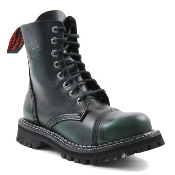 Angry Itch - 8-Loch Gothic Punk Army Ranger Armee Dark Green Rub-Off Leder Stiefel mit Stahlkappe 36-48 - Made in EU! - Thumb 1