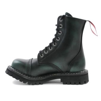 Angry Itch - 8-Loch Gothic Punk Army Ranger Armee Dark Green Rub-Off Leder Stiefel mit Stahlkappe 36-48 - Made in EU! - Thumb 4