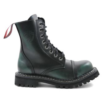 Angry Itch - 8-Loch Gothic Punk Army Ranger Armee Dark Green Rub-Off Leder Stiefel mit Stahlkappe 36-48 - Made in EU! - Thumb 2
