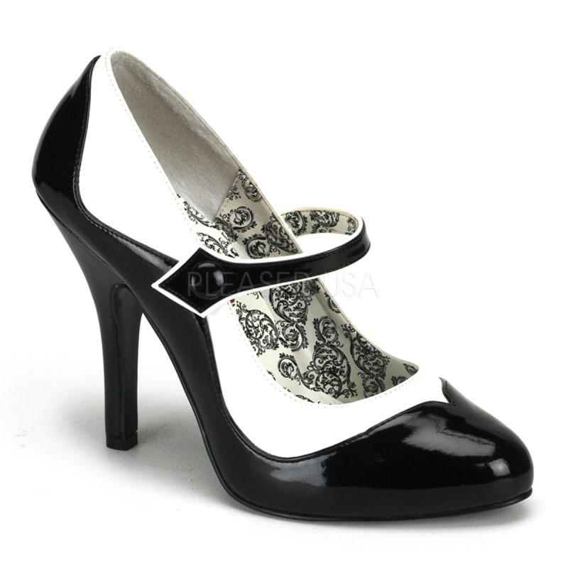 Bordello - Tempt-07 - High Heels Burlesque Mini Plateau Riemchen Pumps - Lack & Kunstleder - Schwarz Weiss